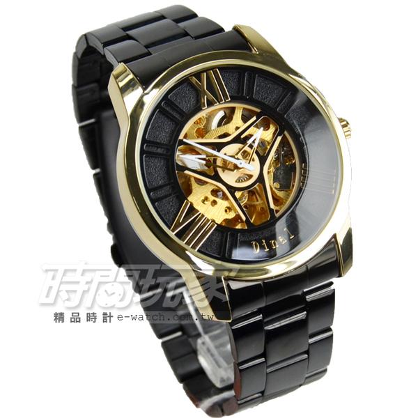 Dinal 羅馬數字時刻鏤空時尚 機械錶 不銹鋼男錶 防水手錶 IP黑電鍍x金電鍍 D2038-2金黑