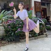 2019春夏季新款粉色皮扣少女學院風高腰紫色格子百褶裙短裙褲女裝