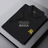 2021新款男士短袖POLO衫印花翻領半袖t恤男打底衫春夏季百搭潮流 快速出貨