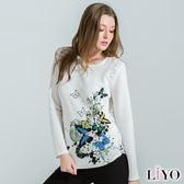 上衣鏤空蕾絲印花長袖女裝T恤LIYO理優E732026