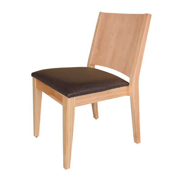 【森可家居】文森原木亞麻紋皮餐椅 7HY452-4 MIT台灣製造
