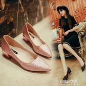 伴娘鞋新款粗跟低跟單鞋女尖頭淺口銀色平底鞋矮跟水晶鞋婚鞋伴娘鞋  朵拉朵衣櫥