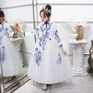 兒童禮服公主裙洋氣女寶寶連衣裙花童演出小女孩中國風蓬蓬沙 快速出貨