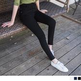 《BA2125-》腰圍鬆緊袋口袖花配色彈力窄管褲 OB嚴選