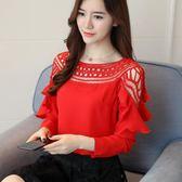 新款韓版雪紡衫女襯衫長袖百搭上衣服蕾絲打底衫襯衣韓范