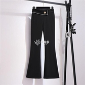 垂感微喇褲女春季新款2021修身高腰外穿彈力喇叭褲休閒黑色長褲