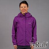 【RAB 英國】DOWNPOUR 女 單件式 防水外套『魔鬼茄紫』QWF63 雨衣│釣魚外套│慢跑路跑外套