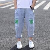 男童牛仔褲夏裝2020新款夏季九分褲薄款褲子防蚊褲兒童短褲破洞褲
