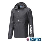 【超取】K-SWISS Semi Zip Open Jacket防風上衣-男-黑
