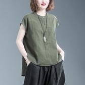大碼T恤 2020夏裝新款洋氣大碼女裝短袖t恤棉麻寬鬆顯瘦遮肚休閒百搭上衣