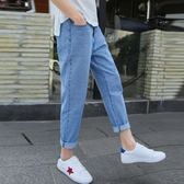 牛仔褲 春季九分牛仔褲男直筒寬鬆褲青少年韓版潮LJ4200『黑色妹妹』