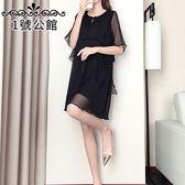 中大尺碼.中長款.連身裙.新款加大碼短袖褶皺雪紡連身裙中長款輕薄XL-5XL 1號公館