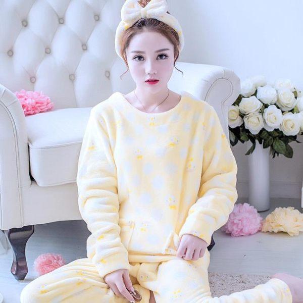 珊瑚絨睡衣女長袖加厚法蘭絨秋天韓版甜美可愛清新學生套裝 優家小鋪