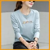 藍色長袖T恤女寬鬆純棉打底衫女秋冬2020新款體恤上衣韓版潮 降價兩天