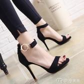 高跟鞋夏季新款韓版一字扣高跟女鞋細跟百搭露趾性感夜店防水台涼鞋 麥吉良品