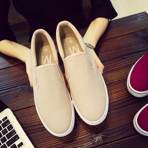 男士帆布鞋一腳蹬懶人板鞋鞋韓國休閒男鞋子布鞋 概念3C旗艦店