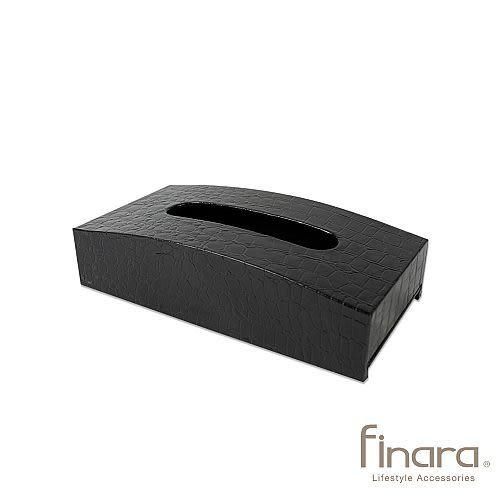 爵士樂弧形皮革面紙盒-黑色鱷魚皮