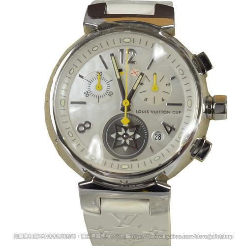 茱麗葉精品 二手精品【9.99成新】Louis Vuitton LV Q132C CUP系列 經典花紋鑲鑽腕錶.白/藍邊
