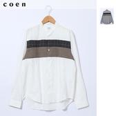 出清 立領襯衫 窗格紋 千鳥紋 胸前拼接  日本品牌【coen】
