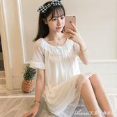 韓版吊帶睡裙女夏性感純棉女士白色可愛蕾絲宮廷睡衣帶胸墊可外穿艾美時尚衣櫥