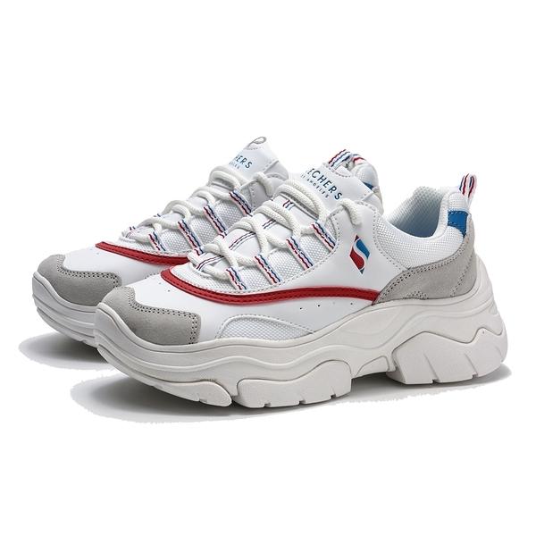 SKECHERS CIRY STEEP'N 白 紅藍線 灰麂皮 增高 老爹鞋 休閒鞋 女(布魯克林) 74235WRNV