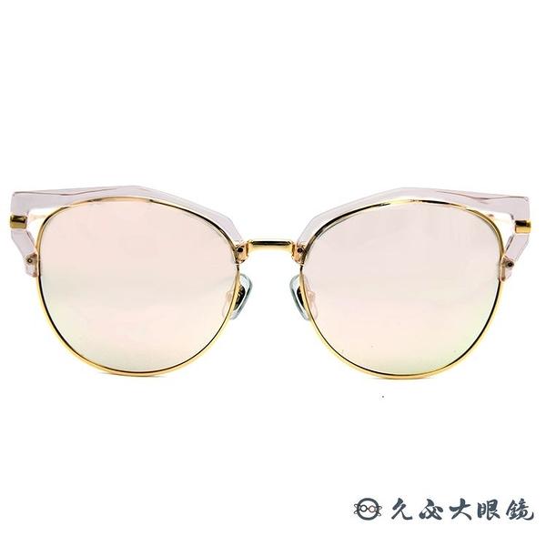 HELEN KELLER 林志玲代言 H8617 (透粉-金) 貓眼 水銀 偏光太陽眼鏡 久必大眼鏡