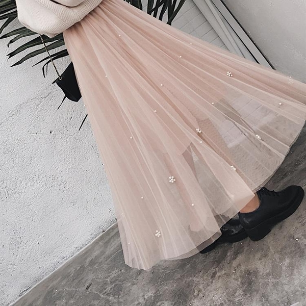 網紗裙 半身裙女中長款百褶裙裙子仙女裙半身重工釘珠網紗裙 萬寶屋