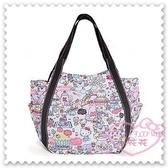 ♥小花花日本精品♥ Hello Kitty 帆布托特包粉色樂園圖滿版圖手提包肩背包外出包外出袋 42157908