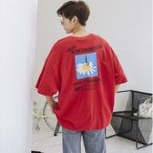短袖T恤男潮流2018新款韓版寬鬆個性5五分袖學生嘻哈bf原宿風中袖