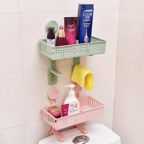 免打孔浴室置物架壁掛衛生間用品吸壁式廁所馬桶塑料收納架TW  母親節禮物