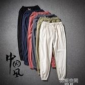 亞麻褲 春夏薄款透氣亞麻褲男寬鬆直筒中國風棉麻褲男休閒麻布長褲子大碼