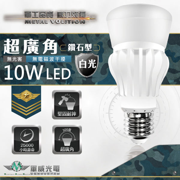 【軍威光電 Ez-Light】LED 10W 超廣角燈泡 白光