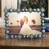 6寸兩色金屬相框鑲?復古宮廷婚紗照相架禮物禮品擺台家居飾品   LannaS