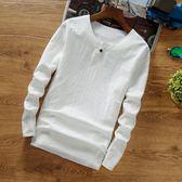 中國風男裝亞麻T恤中式復古上衣棉麻長袖純色t?打底衫潮大碼 優家小鋪