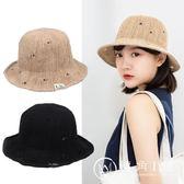 夏季透氣破洞可折疊草帽女百搭休閑漁夫帽簡約盆帽大沿遮臉遮陽帽