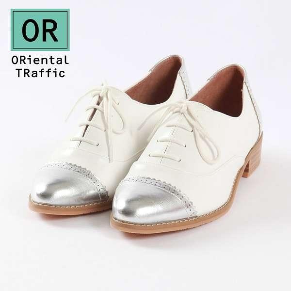 【ORiental TRaffic】洗鍊率性德比牛津綁帶鞋-率性白