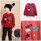 ☆棒棒糖童裝☆(B585287)秋冬男童紅色大貼布大小星星內刷不倒絨長袖上衣 5-15