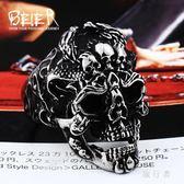 戒指 霸氣斗雙龍骷髏頭男士戒指食指個性潮人鈦鋼飾品 AW11251【旅行者】