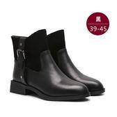 中大尺碼女鞋 歐美磨皮拼接亮面環扣設計低跟靴/低筒靴 39-45碼 172巷鞋舖【TL60226】