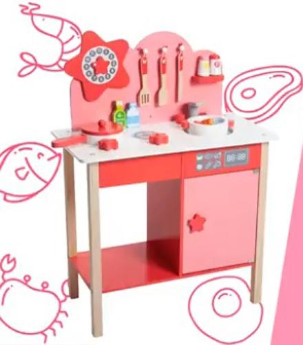 kikimmy 星光木製廚房玩具組 K328【德芳保健藥妝】體積過大,勿選萊爾富取貨