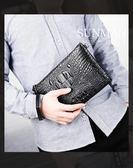 鱷魚紋男士長款錢包男手包時尚經典商務手拿包信封包青年拉鍊大潮   東川崎町