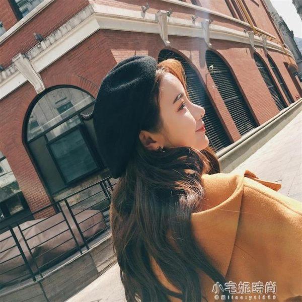 日系季網紅百搭羊毛貝雷帽女潮英倫蓓蕾畫家帽子冬天黑色『小宅妮時尚』