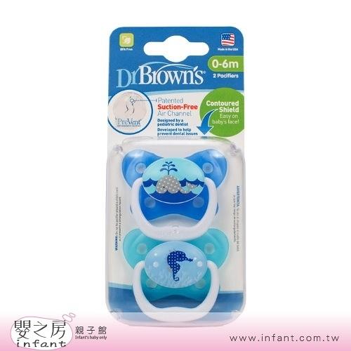 【嬰之房】Dr. Brown s布朗博士 PreVent功能性安撫奶嘴 0-6M(2入-藍)