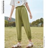 女童褲子2021新款防蚊褲大童洋氣休閒褲薄款寬鬆夏長褲雪紡寬管褲 米娜小鋪