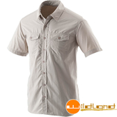 Wildland 荒野 W1206-83白卡其 男排汗抗UV短袖襯衫