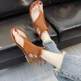 夾腳港味chic涼鞋女夏新款平底百搭原宿復古風涼靴潮  麥吉良品