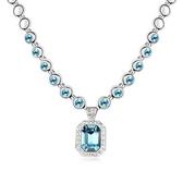水晶項鍊+925純銀吊墜-方形簡約母親節生日禮物女飾品3色73bb25【時尚巴黎】