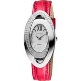 ROUND WELL 羅馬魅力女伶晶鑽女錶-銀x紅 RW3087S
