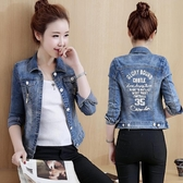 牛仔外套 短款牛仔外套女長袖2019春季新款韓版字母修身顯瘦百搭牛仔褂上衣
