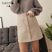 東京著衣-tokichoi-半甜女友3/4假排釦磨毛A字短裙-S.M.L.XL(191903)